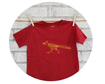 Roadrunner Youth Cotton Tshirt, Toddler Clothing, Childrens Graphic Tee Southwestern Bird, Burgundy Red, Yellow, New Mexico, Cotton Crewneck