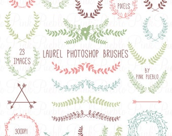 Laurel Photoshop Brushes, Laurel Wreath Photoshop Brush - Commercial and Personal Use