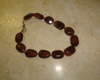 vintage necklace amber swirl glass beads