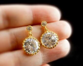 Clear CZ Teardrop Bridal Earring // Bridal Drop Earring - Round CZ Earrings - Wedding Jewelry - Cubic Zirconia Earring