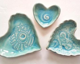 Love bird heart shaped nesting set 3 aqua dish wedding ring soap treat dish sweet gift for any occasion