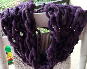NEW Beautiful Hand Knit Cowl in Deep Purple, made of Handspun Hand Dyed Wool Yarn