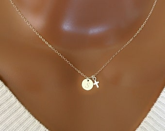 Sterling silver disc and tiny cross necklace, All sterling silver, personalized letter, personalized necklace