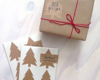 12 Large Rustic Kraft Christmas Tree Stickers | Envelope Seals | Kraft Stickers | Rustic Stickers | Gift packaging | Christmas Gift Wrap