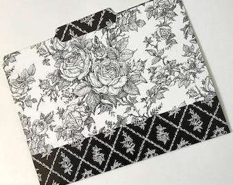 Decorative File Folder, Victorian Black & White Flower Collage File Folder, Cute File Folder, Desk Accessory, File Organizer  PSS 3597