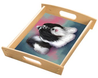 Shih Tzu Dog Wood Serving Tray with Handles Natural