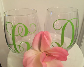 Monogram, Wine Glass, Vinyl Lettering, Set of 2 Wine Glasses