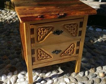 Custom wood CARVED BEDSIDE table - custom RECLAIMED wood bedside table - custom carved nightstand