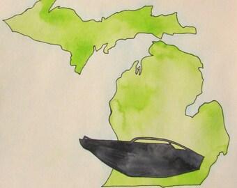 Great Lakes boating watercolor, 11 x 15, green Michigan painting