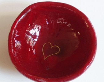 Fused glass bowl - Chinese red with gold heart