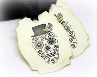 Halloween Gift Tags (Double Layered) -  Dia De Los Muertos Tags - Day of the Dead Tags - Halloween Tags - Skull Tags - Calavera (Set of 8)