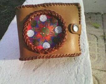 Purse with hand-painted mandala ohm-Aum-OM