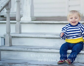 Boys Hand Knit Baby Sweater -- Childrens Clothing -- Webster Street -- Navy Blue, White, and Yellow -- Great for Spring Baby Showers