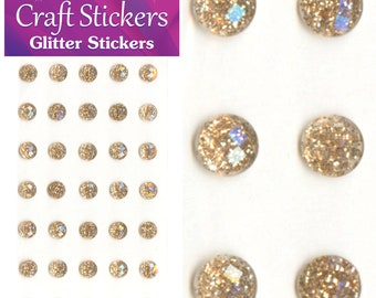 Champagne Self Adhesive Glitter Stickers Faceted Gems 4mm or 8mm Craft Embellishments
