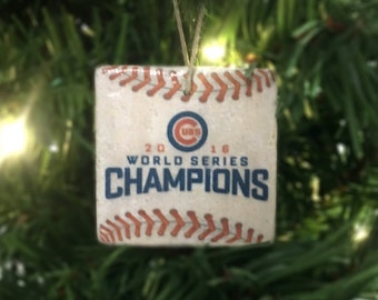 Chicago Cubs World Series Ornament (Set of 4 Designs: World Series Champions, Cubs Win, Cub Logo, #FlyTheW) 2x2 Tile - Christmas Ornament