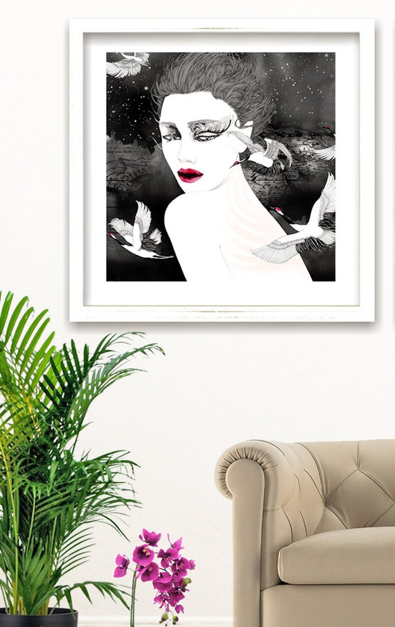 Fashion illustration art print // figure drawing // Voyage privé 2 // Woman portraiture illustration