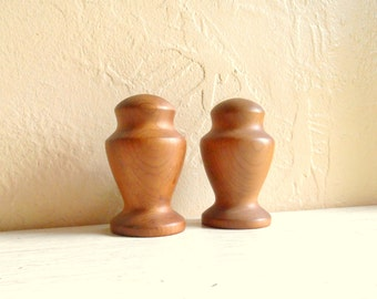 Pair of Mid-Century Eames Era Danish Modern Salt and Pepper Shakers Wood