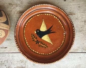 Mexican Pottery Plate Black Bird Decor Redware Mexican Decor Capula Michoacan Pottery