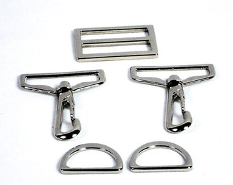 "5pc Purse Hardware Set, 1.5"" Silver Swivel Hooks, 1"" D-Rings, 1.5"" Slide; Purse Supplies Bag Making, Ready to Ship from MeiMei Supplies"