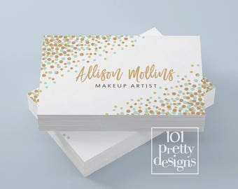 Rental business etsy confetti business card mint gold printable business card design gold glitter business card confetti calling cards party props rental reheart Gallery