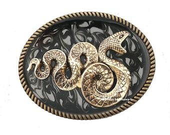 Boucle de ceinture serpent incrusté émail brillant peinte à la main à l'encre noire tourbillon Design néo victorien inspiré ovale boucle d'or avec des Options de couleur