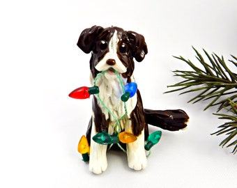 Border Collie Liver Brown Porcelain Christmas Ornament Figurine OOAK