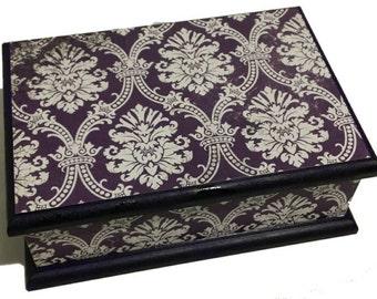 Damask in Purple Keepsake Box, Trinket box, Treasure Box, Jewellery Box, Memory box, Wooden Box