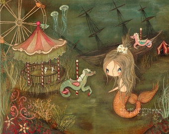 Carnival Print Mermaid Art Painting Nautical Lost Carnival Mermaid Girl Nursery Children Under The Sea Art