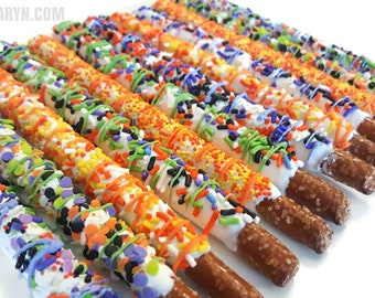 HALLOWEEN assorted chocolate covered pretzels. pretzels. Halloween pretzels. Halloween treats. Halloween party decor. Halloween favors.
