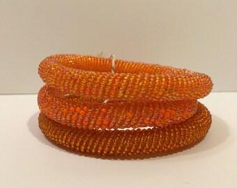 Beaded Bangles (set of 3) Orange Colorways