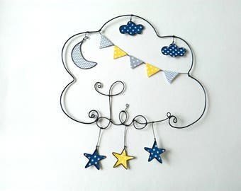 "Wire name personalized ""Walk under the Moon and stars"" cloud decoration child's room"