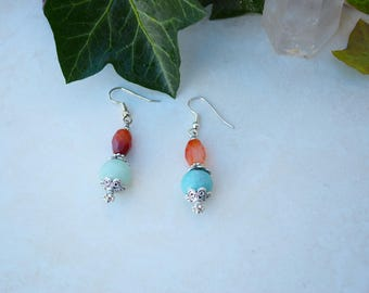 Boho Hippie Carnelian and Amazonite Drop Earrings Gift for Her