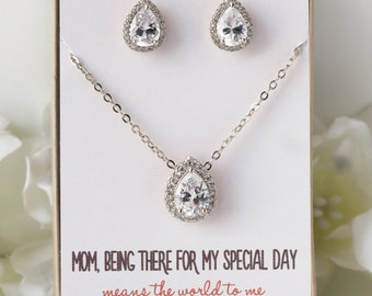 Mother of the Bride Gift, Mother of the Groom Gift, Bridesmaids Jewelry Set, Teardrop Studs, Earrings and Necklace Set, Gift for Mom,N528-SD