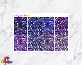 Purple Glitter Headers, Planner Stickers, Header Stickers, Glitter Header Stickers