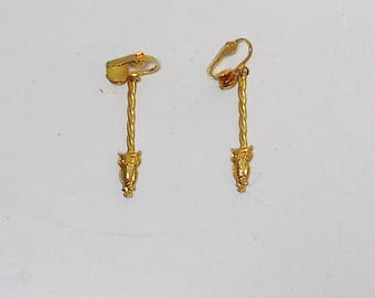 Clip On Owl Long Earrings, Turned, Braided, Gold Tone, Owl Earrings, Never Worn, Vintage Costume Jewelry