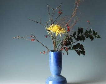 Blue Pottery Vase. Ikebana Vase.  Wood Fired.