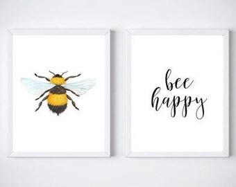 Bee Happy Print Duo - Be Happy - Home Decor Print