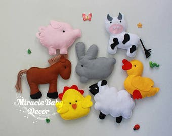 farm animals felt animals cot mobile nursery mobile country mobile horse pig sheep rabbit cow duck chicken baby boy mobile