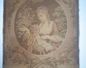 """ANTIQUE FRENCH TAPESTRY titled """"La Premiere Lecon"""" with Mother and Her """"Angel"""""""