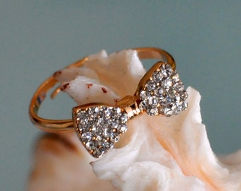 Bow Ring Rhinestone Bow Ring Gold Bow Ring Adjustable Resizable Crystal Bow Ring Gift under 25