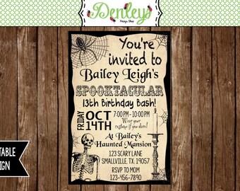 Haunted invitations, Skeleton Invitation, Halloween Birthday Invitation, Teenager Halloween Invitation (HA02)
