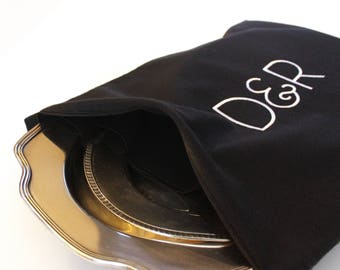Large Anti Tarnish Bag, 3 Sizes, Made to Order and Monogrammed for Silver Platters and Silver Trays, Silver Holloware, Silver Serving Dishes