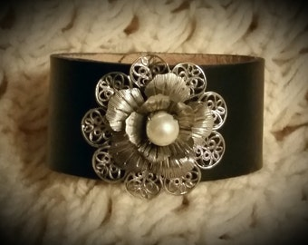 After Life Accessories Repurposed Black Leather Cuff Silver Flower Pearl Bracelet