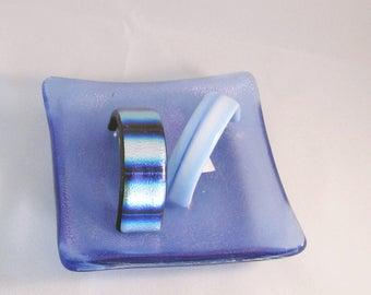 BOGO - Ponytail barrette - Royal Blue & Silver - Sky Blue - made in France barrette - Fused Glass Barrette (4908-4937)