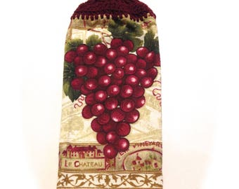 Grapes Hand Towel With Aubergine Crocheted Top