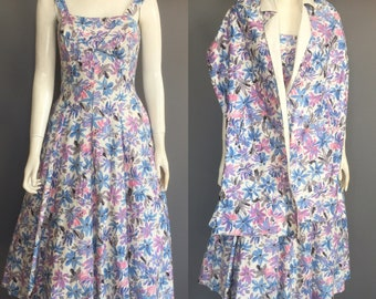 1950s dress with mathing stole and pockets