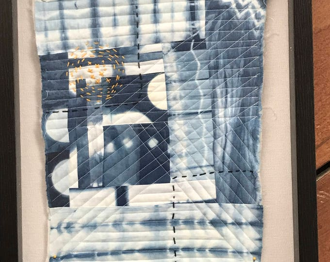Indigo Hand Dyed and Embroidered Mini Quilt Art Wall Hanging - Great Home Decor Gift Idea