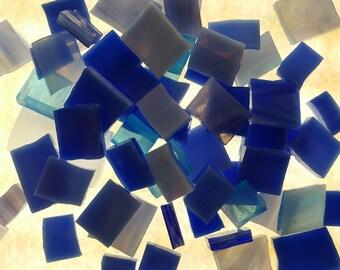 MOSAIC Glass Tiles * 1/2 lb * Blue Opal Mixture