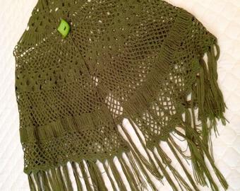 Sage Green Fringed Shawl