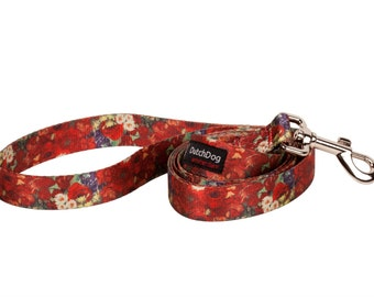 Dog leash 5ft fashion recycled webbing, Van Gogh Red Poppies